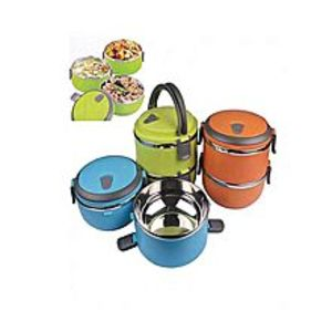 As seen on tvStainless Steel Plastic Lunch Box 2 Layes