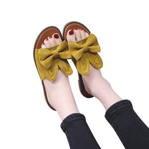 Women Fashion Solid Flower Round Toe Flat Heel Slipper Sandals Beach Shoes