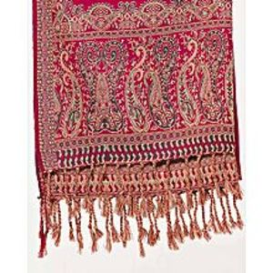 Misbah's StyleShocking Pink,Green & Beige Pashmina Shawl
