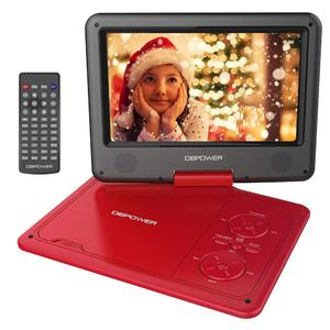"""DBPOWER 9.5"""" Portable DVD Player, 5 Hour Rechargeable Battery, Swivel Screen, Supports SD Card and USB, Direct Play in Formats AVI/RMVB/MP3/JPEG (RED)"""