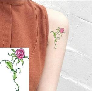 Waterproof Temporary Tattoo Sticker Women Red Rose Blossom Tree Flower