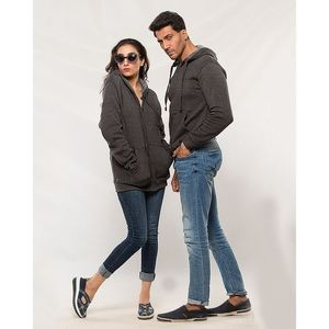 The Ajmery Pack of 2 Couple Charcoal Grey Hoodies. AJM-H251