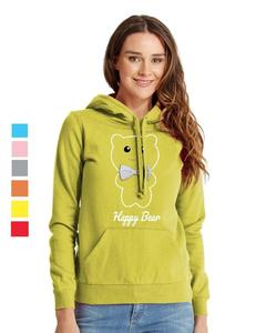 Rex Bazar - Light Green Happy Bear Printed Hoodie For Women