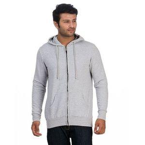 Heather Grey Cotton & Fleece Zipper Hoodie For Men