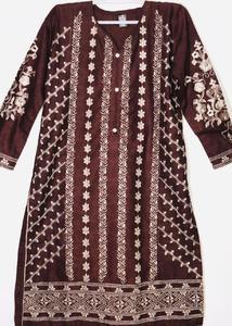 Brown Stylish Embroidered Shirt/Kurta For Women - Stitched