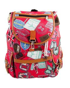 """Butterflies Backpack School Bag Notebook Bag Laptop Bag Travel Bag for School and College - 15x17"""" - Red"""