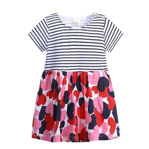 Toddler Infant Baby Kids Girls Cartoon Print Striped Animals Dresses Outfits