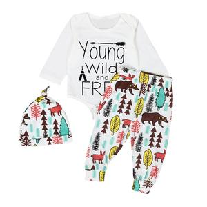 2deb491e752a Newborn Baby Boys Girls Clothes Tops Romper Pants Leggings Hat Outfits 3PCS  Set