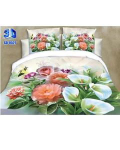 Multicolor 3D Printed Cotton King Size Bedsheet