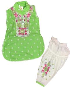 Light Green Fancy Embroidered Kurti With Fancy Patiala Shalwar For Girls