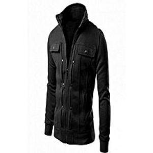 Afroozia Stylish Black Fleece Jacket For Men