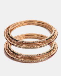 Jewellery Hut Gold Plated Zirconia Bangles Set