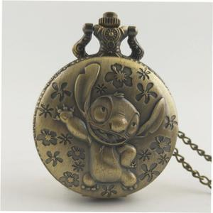 LALA Cute Animal Vintage Antique Round Dial Quartz Pocket Watch Necklace Clock
