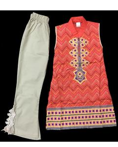 Fancy Embroidered Kurti With Skin Bell Bottom For Girls