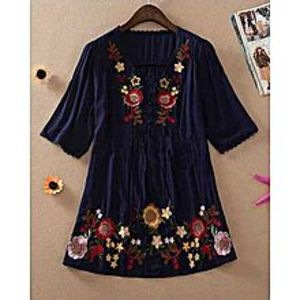 Million Shades Navy Blue Embroidered  Kurti For Women