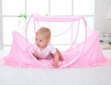 Baby Travel Bed Tent - Mosquito Net - Infants Pop Up Portable Folding Baby Crib Cots Newborn Foldable Beach Tent Protect from Sun & Bugs, Blue