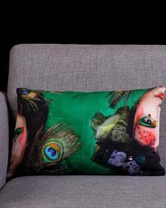 Multi Color Cotton Canvas UNI-2 GREEN Cushion Cover
