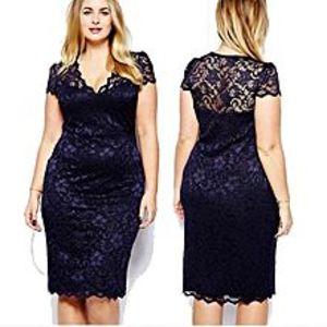 BluelifeWomen Sexy Hollow Out V Neck Lace Dress Slim Fit Plus Size Midi Dresses - Azul