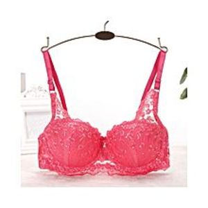 Chinese Dukaan Rose Pink Fitness Padded Push Up Dry Fit Sequined Bra