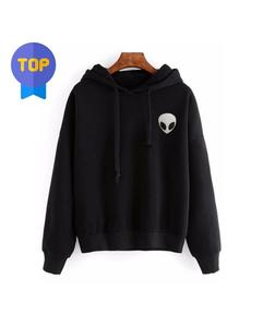 ABBY Black Printed  Fleece Cotton Hoodie For-Women