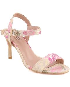 """White Fabric Women """"QUINTY"""" Ankle Strap Printed Stiletto Slip On Sandals L30654"""