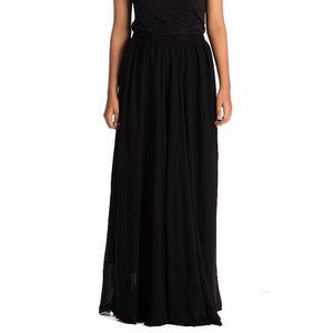 Jasmars Black Chiffon Maxi Skirt For Women