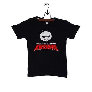 C-Tees Black Cotton Kung Fu Panda T-Shirt For Kids