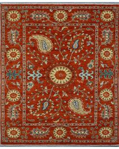 Rust Vibrant Suzani Chobi Rug Tk- 8068 Size: 4'.10''X7'.3''