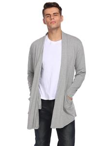Gray Mix Cotton Long Sleeve Coat For Men
