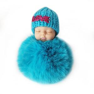 Cute Sleeping Baby Doll Keychain Soft Fur Pendant Car Bag Charm Keyring blue about 10cm