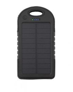 Solar Power Bank With Dual Usb Ports - Black