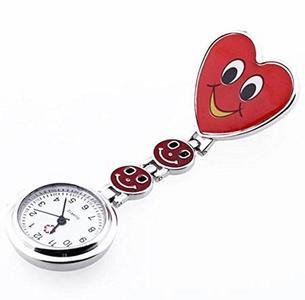 Splendid Red Heart Shape Quartz Movement Fob Tunic Pocket Watch