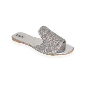 Mojari Silver Synthetic Slipper for Women