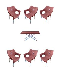 (Boss) Set Of 6 Rattan Plastic Chairs And Plastic Table - Brown