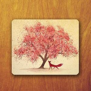 Sakura Tree and red Fox Painting Mouse Pad Beautiful Japanese Tree Mousepad
