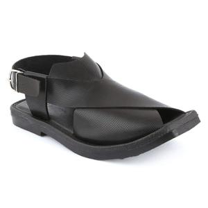 Men's Artificial Doted Leather Peshawari Style Sandals Black 7 Size (41 Number)
