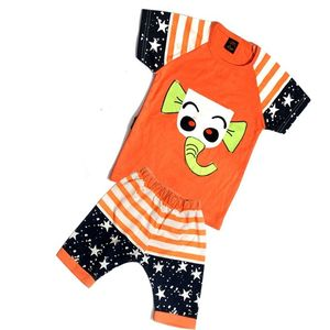 Atanshop Orange Mixed Cotton T-Shirt & Shorts For Kids