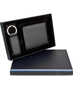 Black Genuine Cow Leather Wallet And Keychain Gift Set