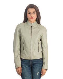 Grey Women Leather Jacket WJ-30