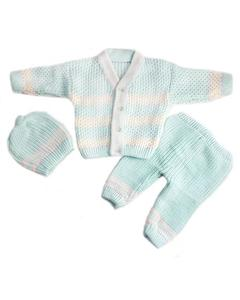 3 Pcs Blue VNeck Sweater Set for Newborn