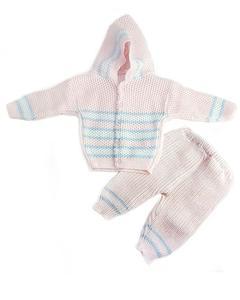 3 Pcs Pink Hood Sweater Set for Newborn