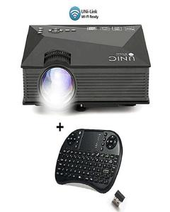 UNIC UC68 Original Projector 1800 Lumens 80 ANSI Multimedia Home Theatre HD 1080p Built-in HIFI Speaker Home Entertainment + With Free Wireless Mini Keyboard/Mouse