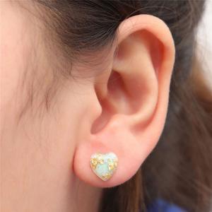 VAKIND VAKIND Gold Foil Resin Stud Earrings Love Heart Drop Ear Rings Jewelry Women Gift