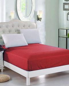 Red Jersey Fitted 100% Cotton Bed Sheet - Single Bed