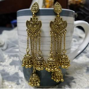 Traditional Tribal Gold Tassel Jhumka Earrings