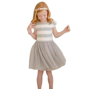 Toddler Infant Kids Baby Girls Summer Clothes Striped Dress Party Tulle Dress