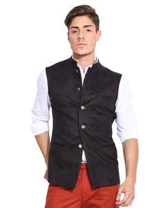 Black Cotton Waistcoat For Men