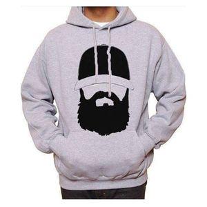 Grey Boss Beard Printed Hoodie. GNL-KH10