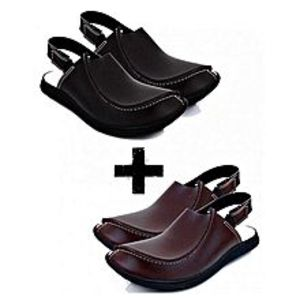 My Dealsbazaar Pack Of 2 - Brown & Black Peshawari Sandals For Men