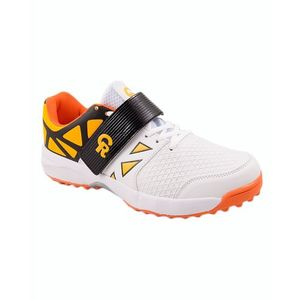 White & Orange CR Synthetic Sports Shoes for Men